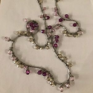 WHBM long silver tone necklace, purple beads